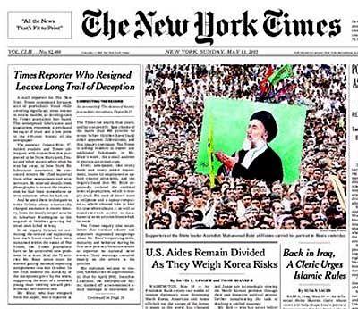 """Titelseite der """"New York Times"""" (im Mai 2003): """"Missverständnisse aus dem Weg räumen"""""""