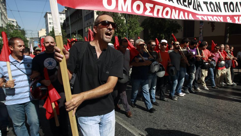 Protestors in Athens during an anti-austerity strike last month.