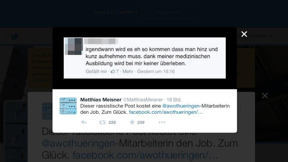 Rassistischer Post (Unkenntlichmachung von SPIEGEL ONLINE) Credit: Meisner/ Twitter