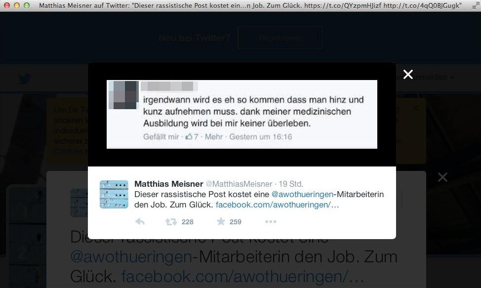 EINMALIGE VERWENDUNG SCREENSHOT/ Meisner/ Twitter