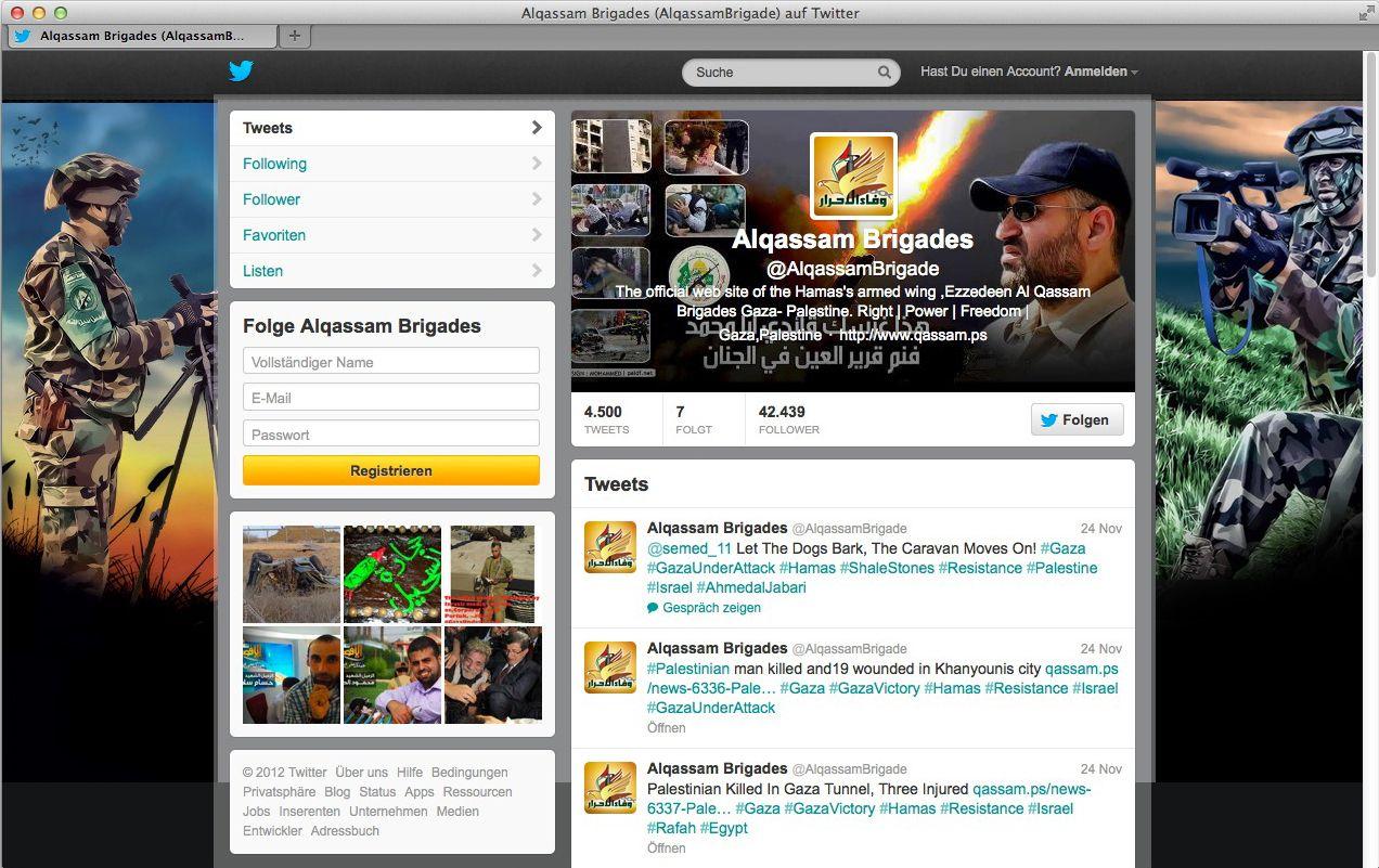 NUR ALS ZITAT Screenshot Alqassam Brigades