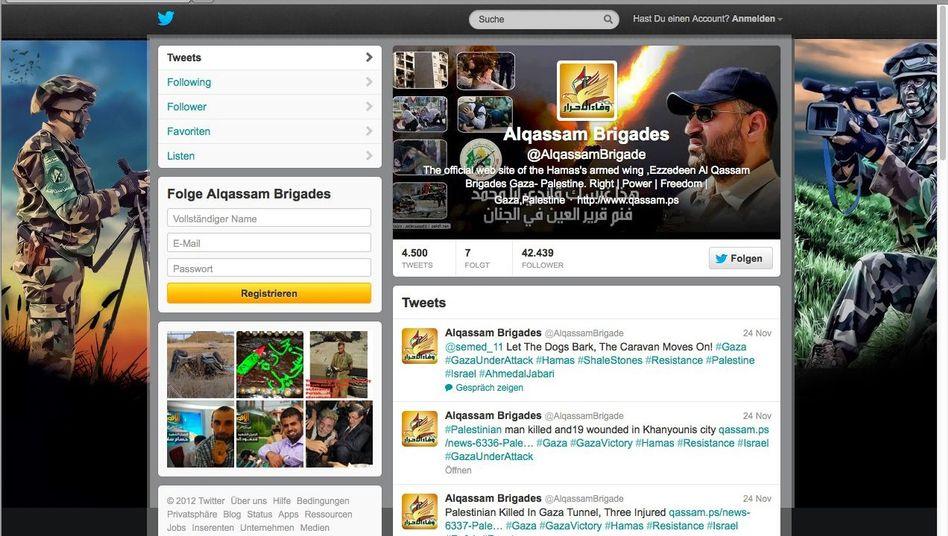 Twitter-Seite der Kassam-Brigaden: Verstoß gegen die AGB?
