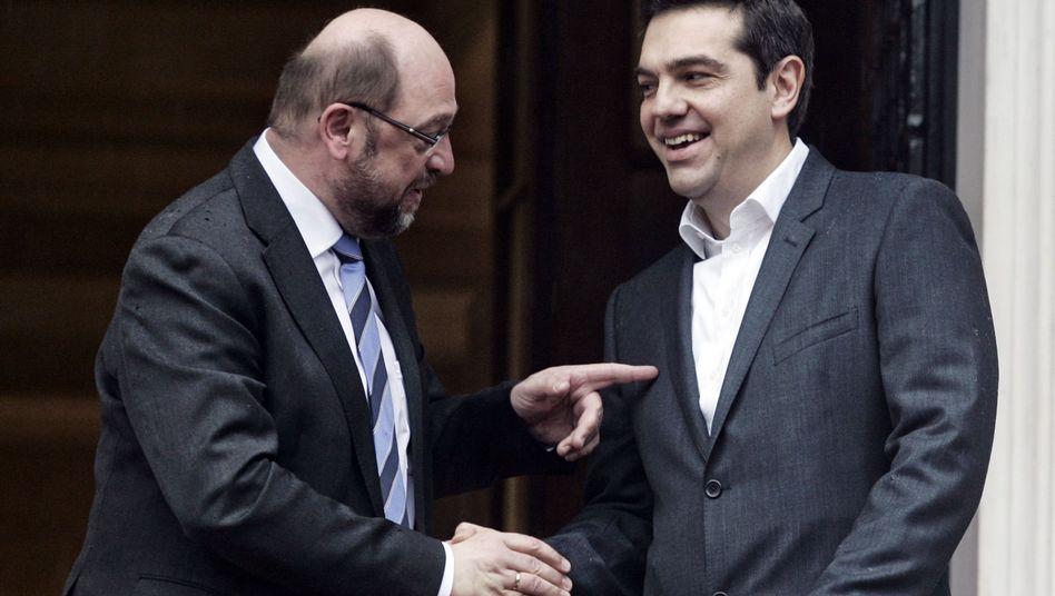 Mach mir keinen Ärger, Junge: Martin Schulz bemüht sich um Alexis Tsipras
