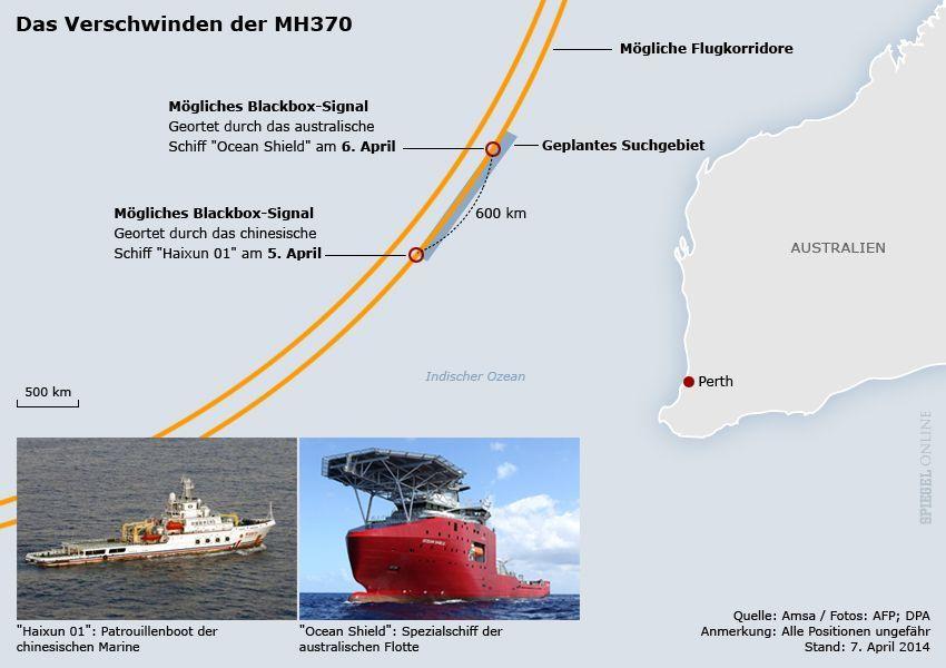 Karte - MH370 - Blackbox-Signale - Stand: 07.04.2014