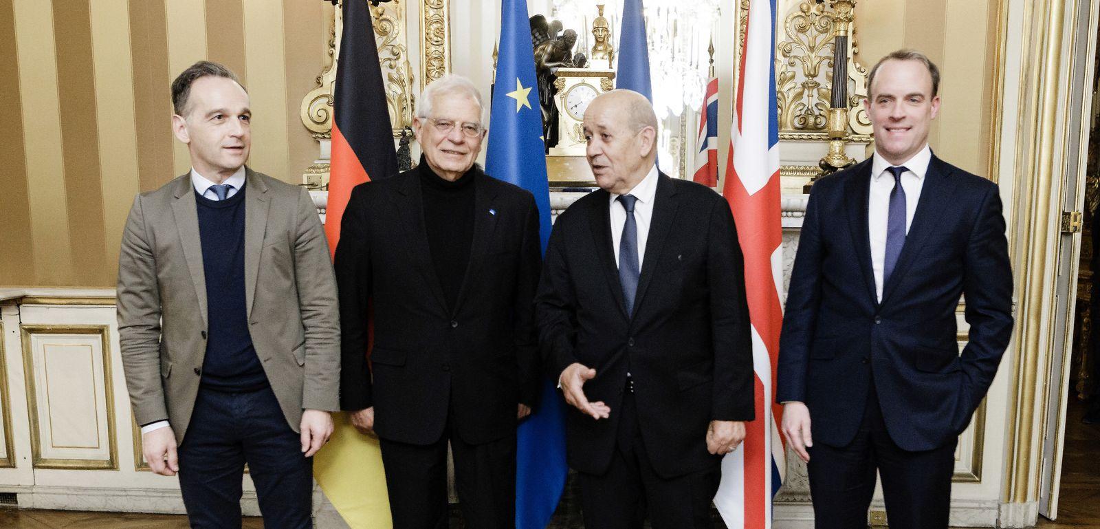 Bundesaussenminister Heiko Maas (L), SPD, im Rahmen eines Treffens mit dem Aussenminister der Franzoesischen Republik, J