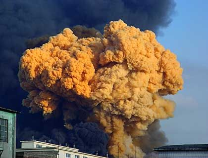 Yellow smoke rising from the chemical plant in Jilin immediately following the Nov. 13 explosion.