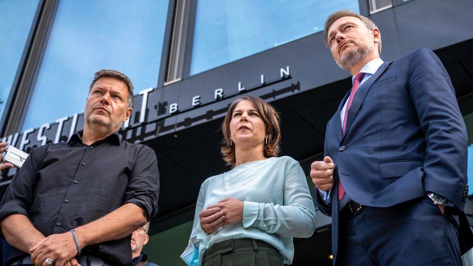 Robert Habeck und Annalena Baerbock von den Grünen mit FDP-Chef Christian Lindner
