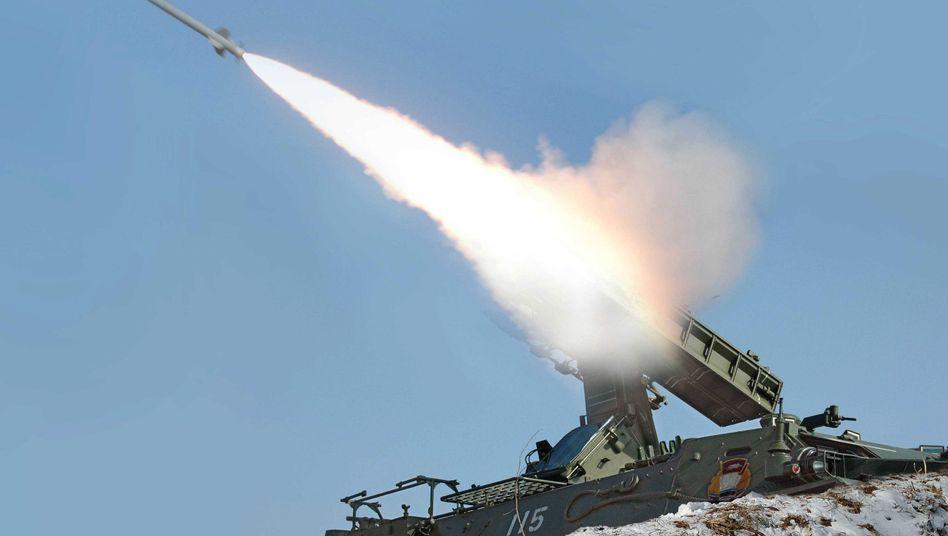 Nordkoreanische Rakete (Archivbild aus dem Jahr 2013): Reaktion auf südkoreanisches Manöver