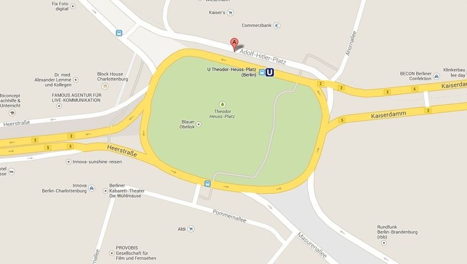 This Google Maps screenshot from Jan. 9 identifies Theodor-Heuss-Platz with its former name: Adolf-Hitler-Platz.