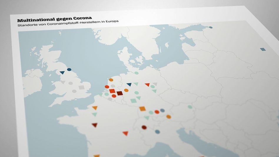 Multinational gegen Corona: Mehr als drei Dutzend Werke in Europa entwickeln Impfstoffe, stellen sie her oder füllen sie ab