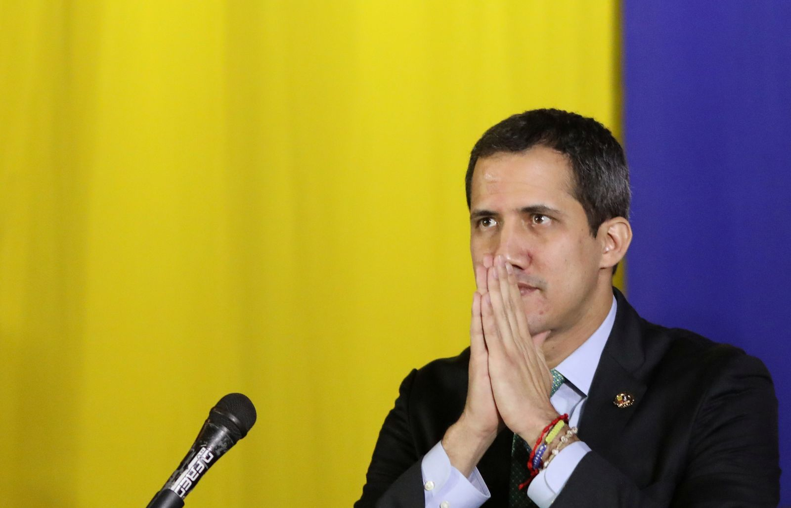 Venezuelan National Assembly President and opposition leader Juan Guaido, who many nations have recognised as the country's rightful interim ruler, takes part in a session of Venezuela's National Assembly in San Antonio