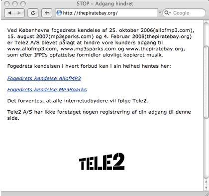 Blockade: Der Internetprovider Tele2 sperrt dänischen Kunden seit heute Nachmittag den Zugang zu Piratebay.org