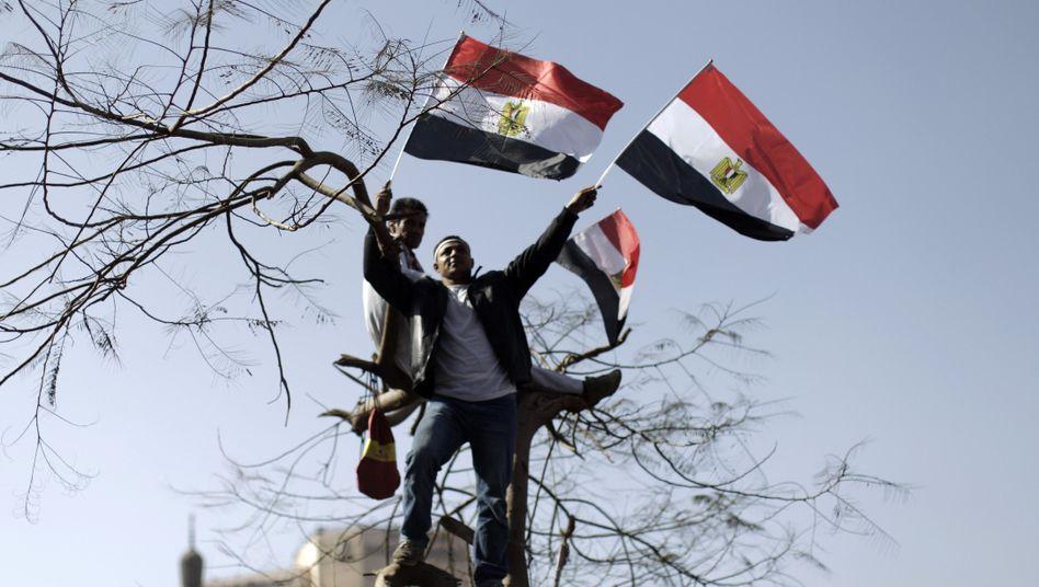 """""""Arabischer Frühling"""": In Kairo feiern Ägypter den Jahrestag am 25. Januar 2012"""