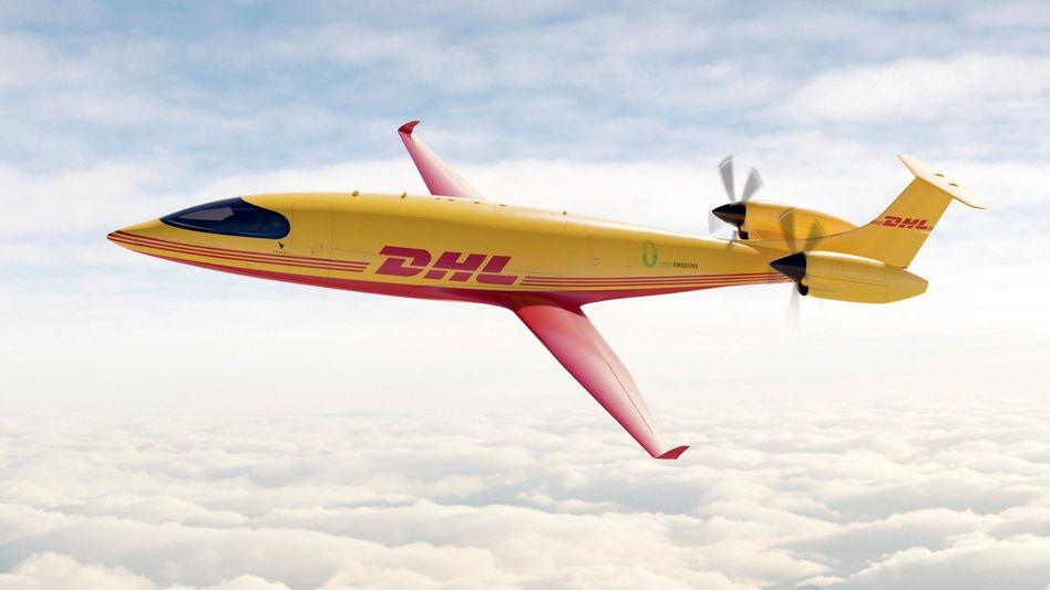 Illustration eines neuen DHL-E-Flugzeugs: Erstflug des Typs noch 2021 geplant