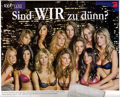 "A newspaper ad for ""Germany's Top Model"" asking: ""Are we too thin?"""