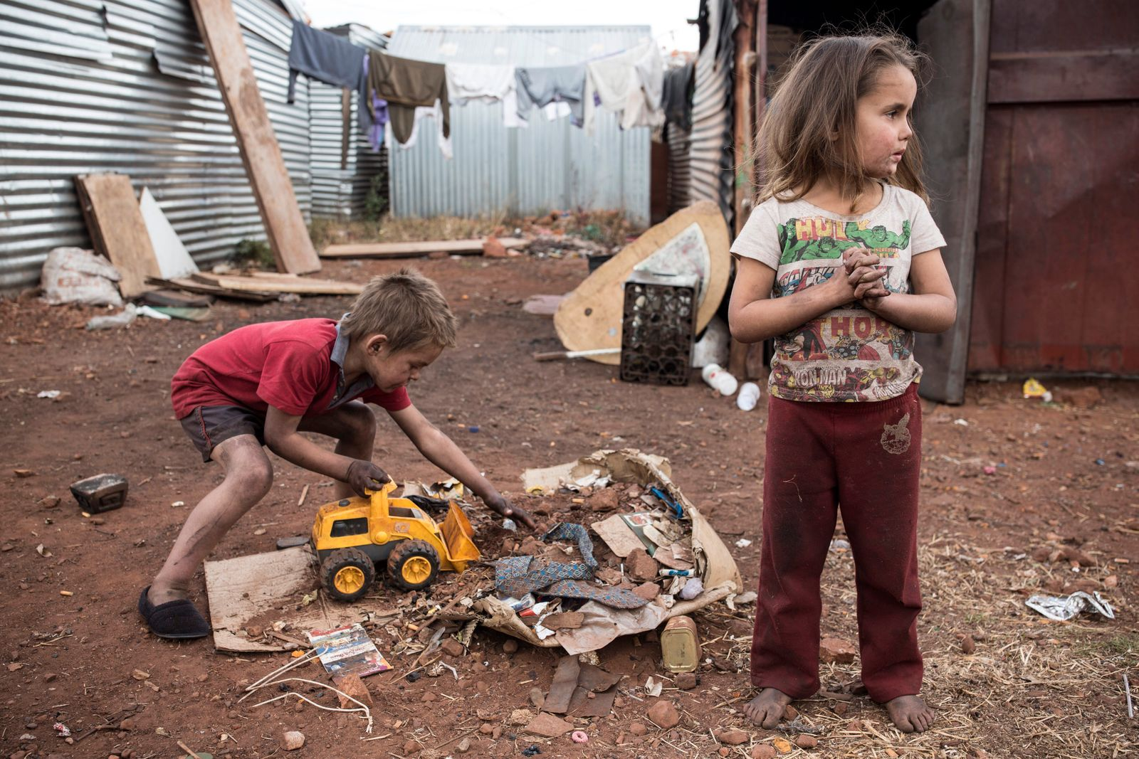 Poor whites live in township in Krugersdorp, South Africa.
