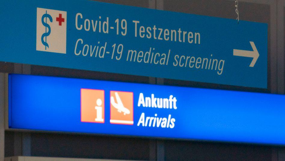 Reisen in Corona-Zeiten: Hinweis auf das Test-Center am Berliner Flughafen BER