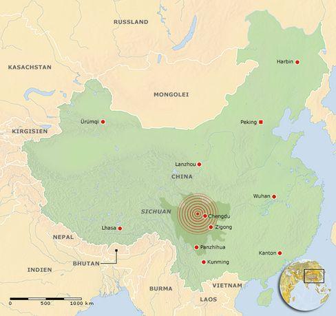 Das Erdbebengebiet in der Provinz Sichuan