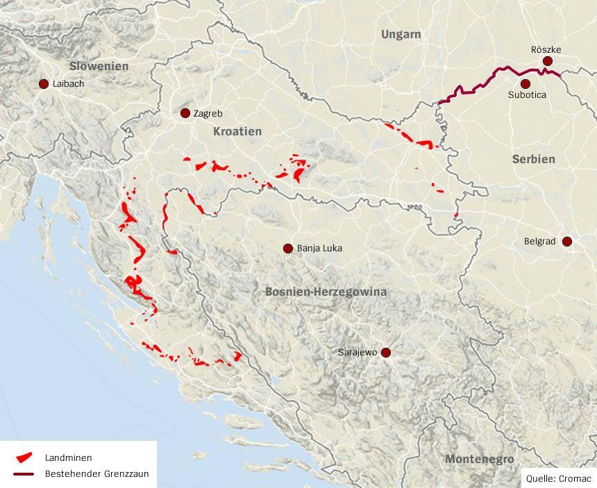 Karte Kroatien Landminen