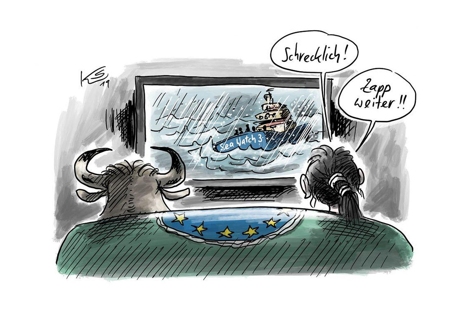 EINMALIGE VERWENDUNG Cartoons/ 08.01.19