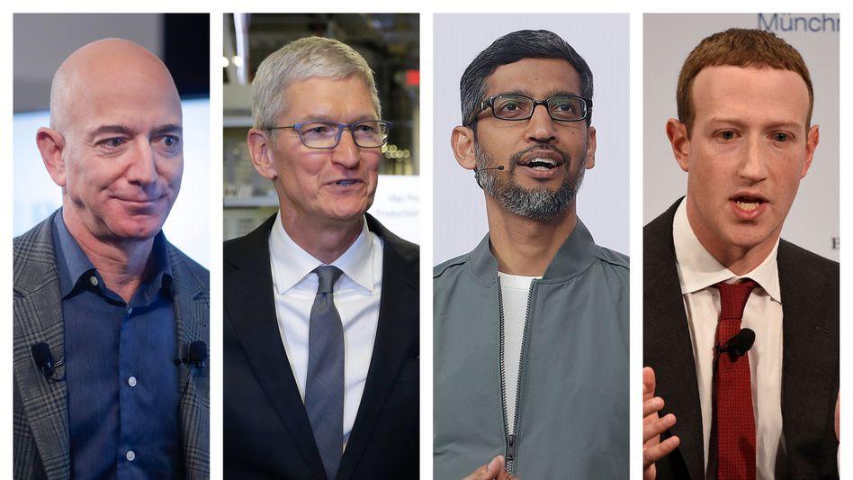 Jeff Bezos (Amazon), Tim Cook (Apple), Sundar Pichai (Google), Mark Zuckerberg (Facebook)
