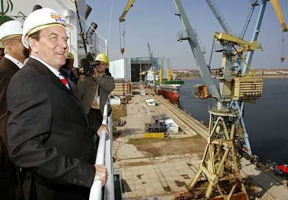 Chancellor Schröder at a shipyard in eastern Germany.