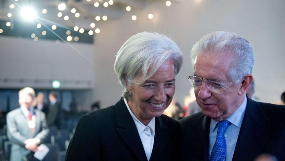 Lagarde und Monti beim Weltwirtschaftsforum: Der EU-Streit erreicht auch Davos