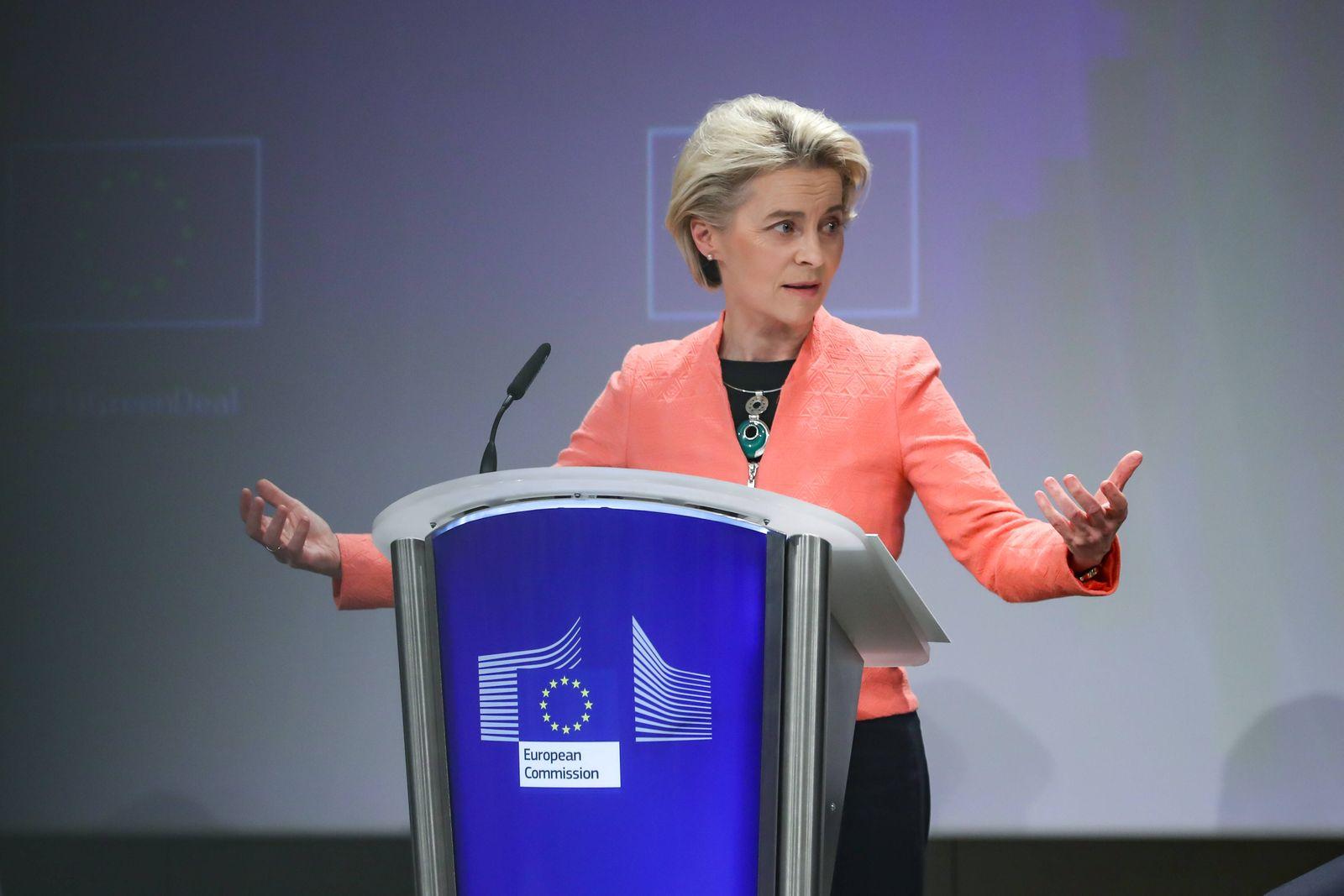 (210714) -- BRUSSELS, July 14, 2021 -- European Commission President Ursula von der Leyen speaks during a press confere