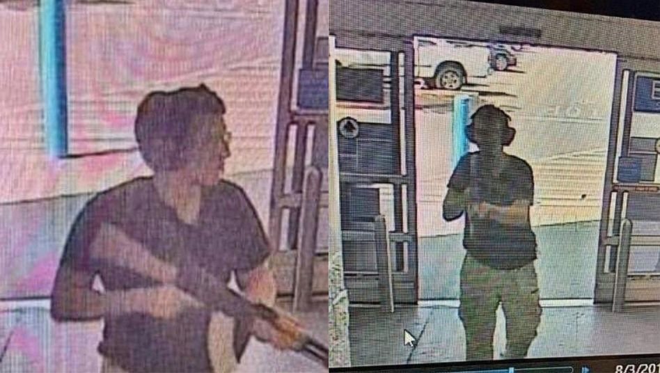 A surveillance camera showing two angles of the Walmart shooter.