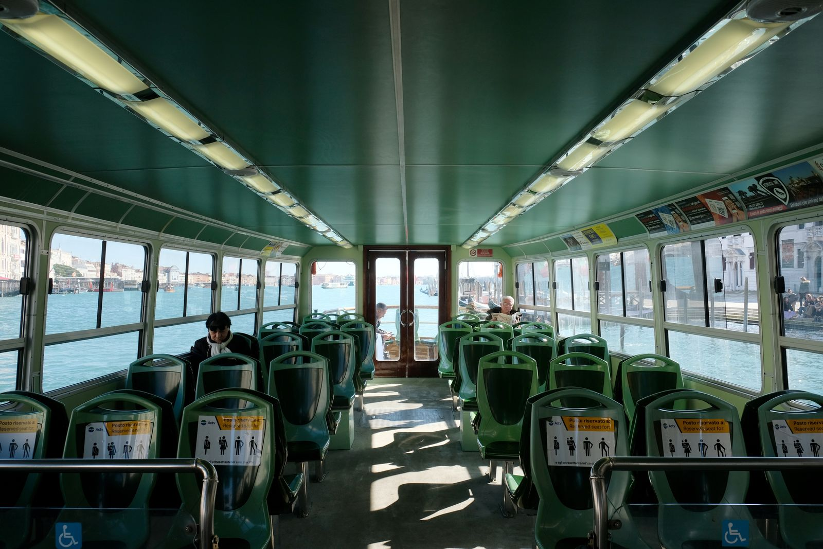 Empty water buses are seen in St. Mark's Square as the Italian government prepares to adopt new measures to contain the spread of coronavirus in Venice
