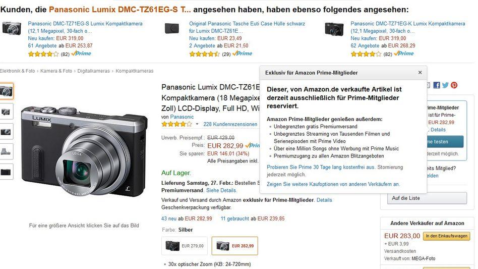 Kamera-Angebot bei Amazon: Momentan exklusiv für Prime-Kunden