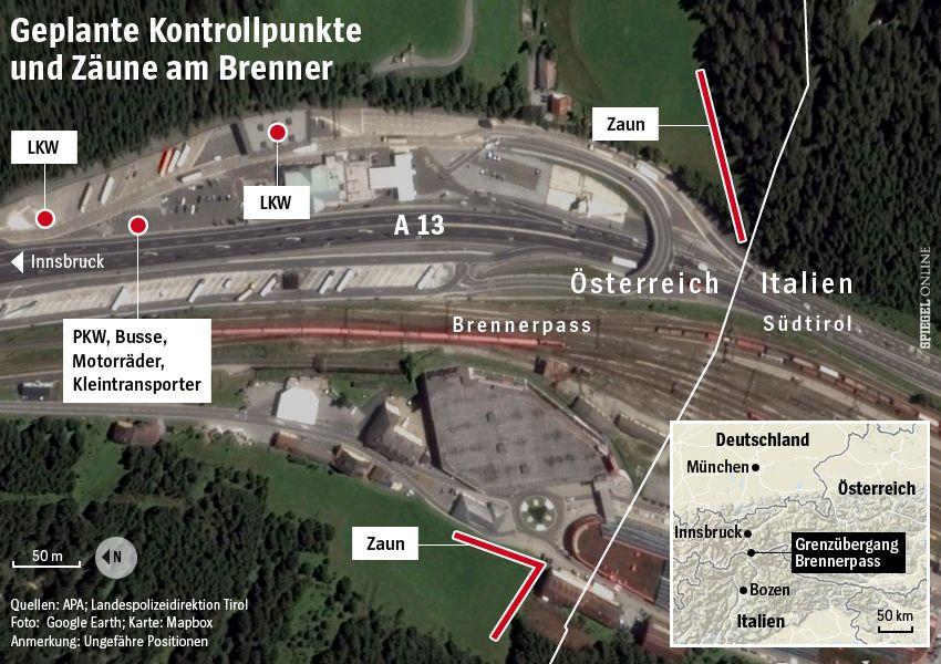 Karte / Grafik - Geplante Kontrollpunkte und Zäune am Brenner