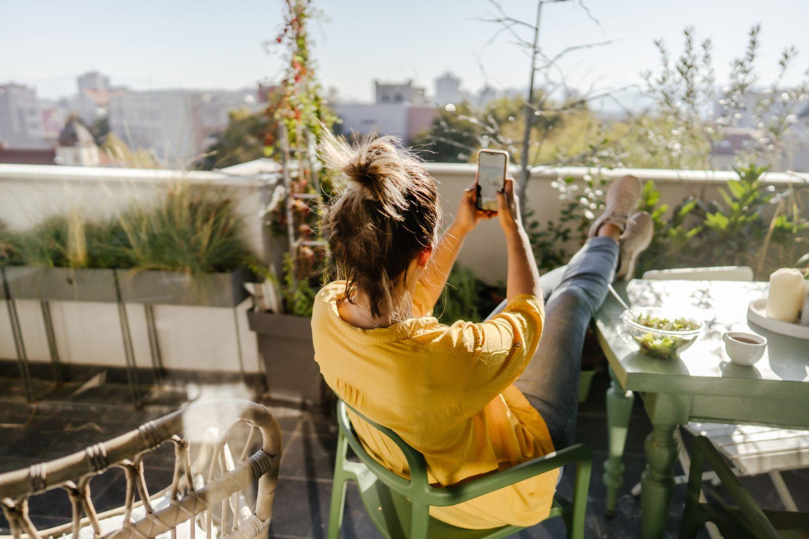Enjoying spring on the balcony