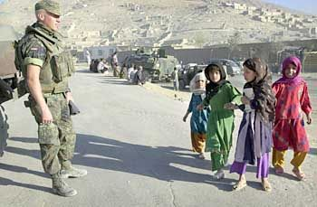 A Bundeswehr soldier helps to keep the peace in Kabul, Afghanistan.