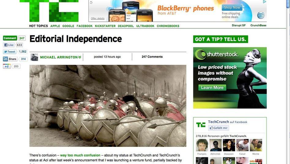 Arrington-Text bei TechCrunch: 25 Millionen Dollar für redaktionelle Freiheit