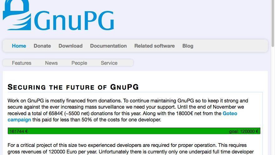 GnuPG-Homepage: Geld von Facebook, Stripe und der Linux Foundation