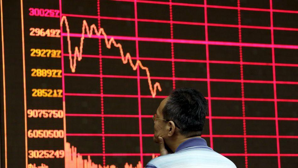 Kurstafel in Shanghai (26. August): Seit Monaten schwächelt Chinas Börse