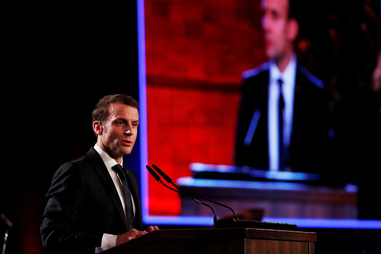 French President Emmanuel Macron speaks at the World Holocaust Forum marking 75 years since the liberation of the Nazi extermination camp Auschwitz, at Yad Vashem Holocaust memorial centre in Jerusalem