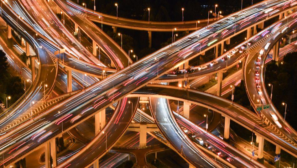 Autobahnkreuz in Shanghai: Biomasse nimmt ab, Menschengemachtes nimmt zu