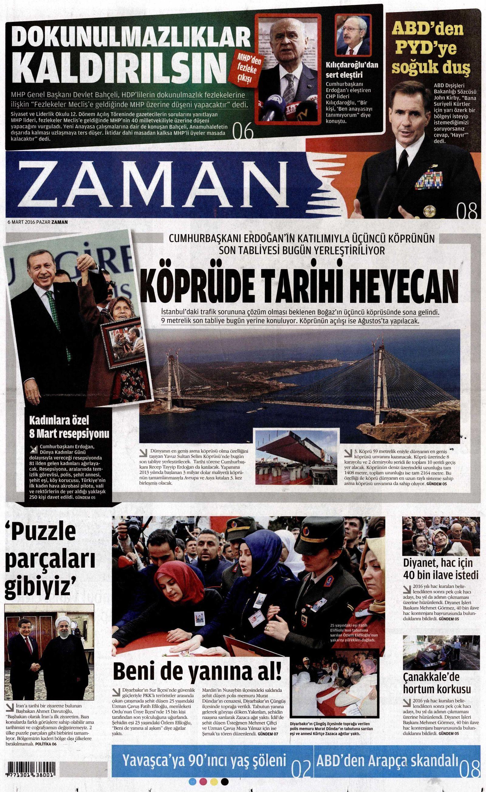 EINMALIGE VERWENDUNG NUR ALS ZITAT Screenshot/ Zaman/ Titelseite/ 6.03.2016