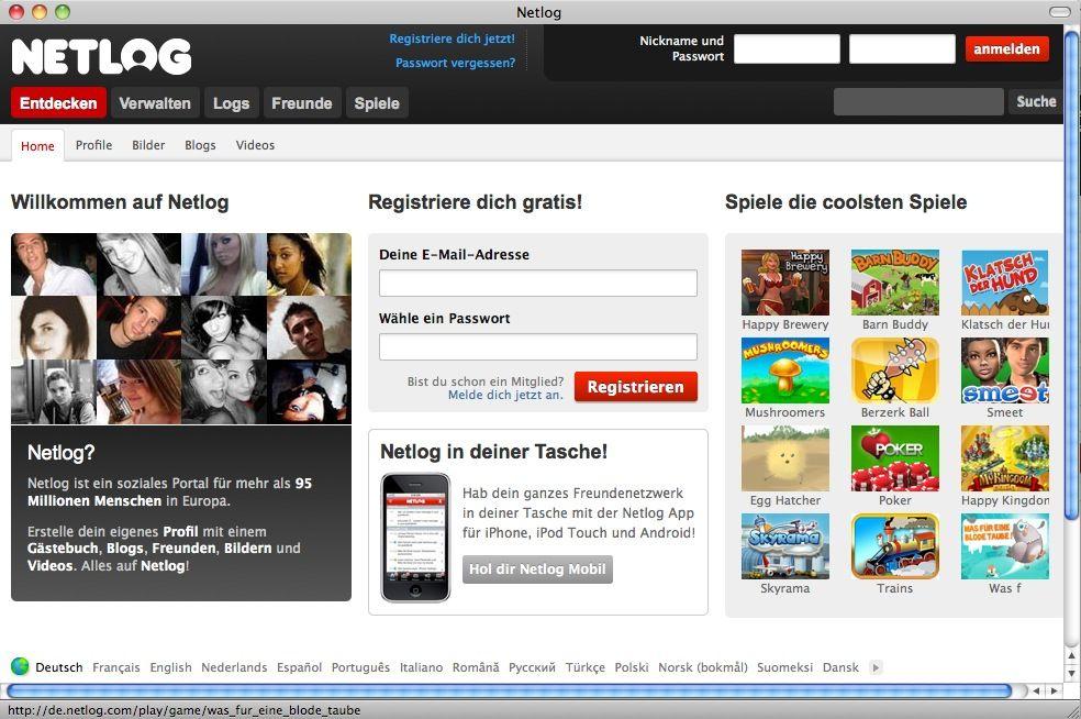 NUR ALS ZITAT Screenshot Netlog