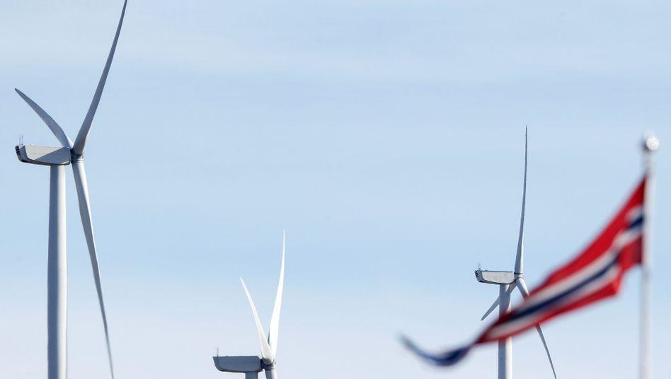 Windkraftanlagen in Fitjar, Norwegen