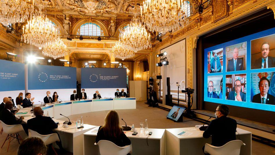 Staatspräsident Emmanuel Macron spricht während des »One Planet Summit« im Élysée-Palast