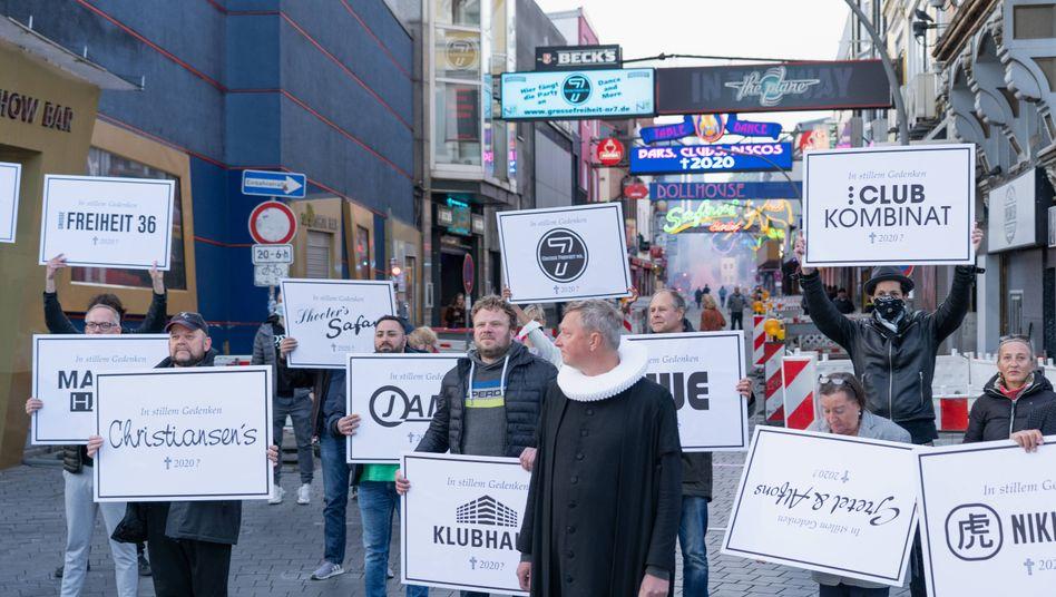 Proteste von Gastronomen in Hamburg-St. Pauli