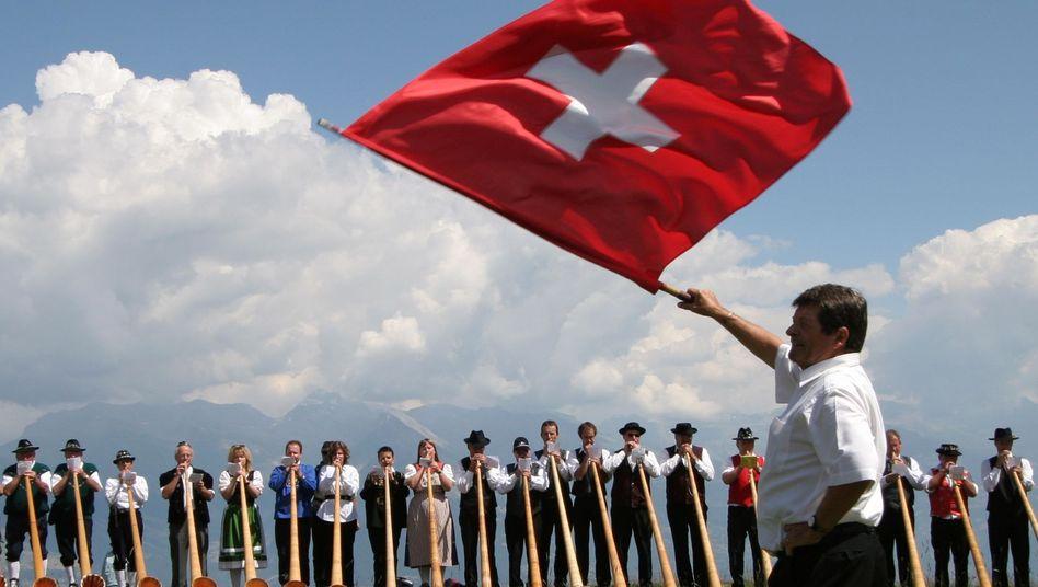 Alphornbläser auf der Alpe Tracouet in Nendaz: Wesentlich anderes Alltagsverhalten