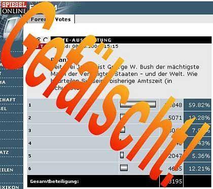 """Aus der Anleitung zur Fälschung des SPIEGEL-ONLINE-Votes: """"You need to cklick 'Abstimmen!'"""""""