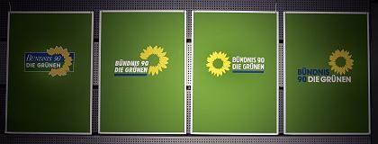 Altes Logo (l.), neues Logo (2.v.l.), andere Entwürfe: Geschenk aus Berlin