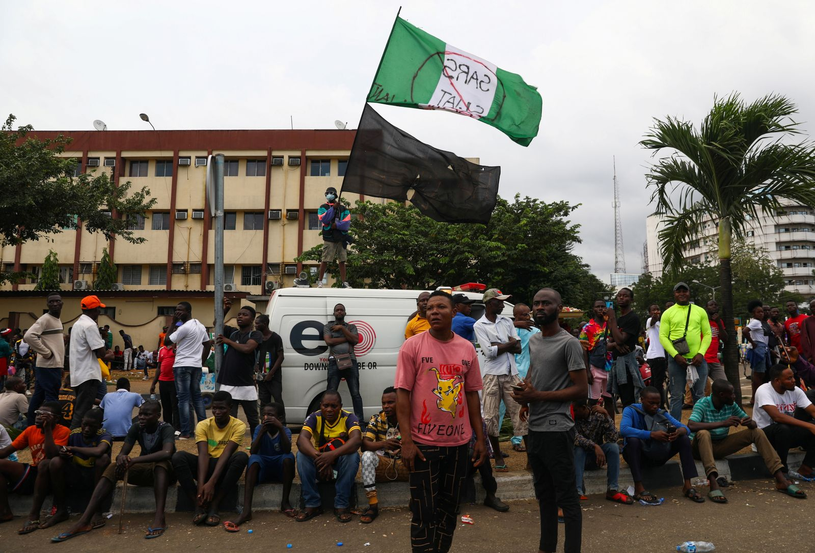 Demonstrators gather on the street to protest against alleged police brutality in Lagos