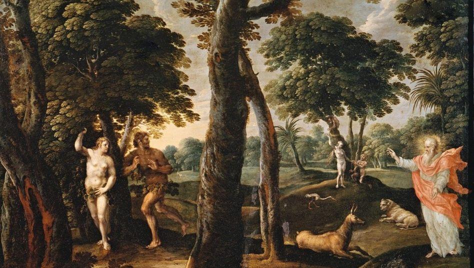 Vertreibung: Gott jagt Adam und Eva aus dem Paradies(flämisches Gemälde aus dem 17. Jahrhundert)