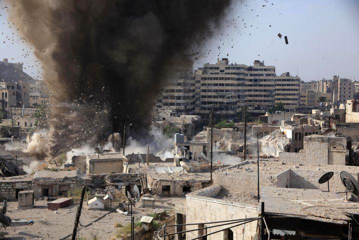 Raketeneinschlag in Aleppo (Mai 2015)